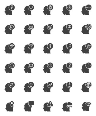 Thinking head vector icons set, modern solid symbol collection, filled style pictogram pack. Signs, logo illustration. Set includes icons as human intelligence, brainstorming, creative thinking, mind icon