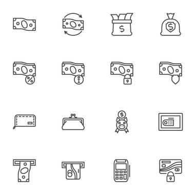 Money related line icons set, business and finance outline vector symbol collection, linear style pictogram pack. Signs, logo illustration. Set includes icons as dollar money bag, piggy bank, purse icon