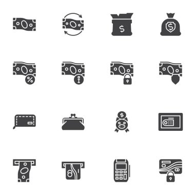 Money related vector icons set, business and finance modern solid symbol collection, filled style pictogram pack. Signs, logo illustration. Set includes icons as dollar money bag, piggy bank, purse icon