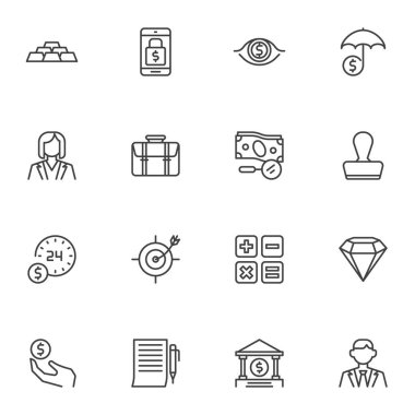 Finance, banking line icons set, outline vector symbol collection, linear style pictogram pack. Signs, logo illustration. Set includes icons as gold bars, mobile banking, money investment, accounting icon