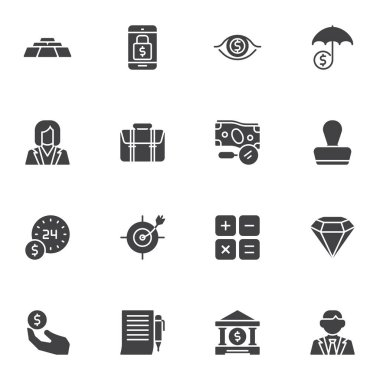 Finance, banking vector icons set, modern solid symbol collection, filled style pictogram pack. Signs, logo illustration. Set includes icons as gold bars, mobile banking, money investment, accounting icon