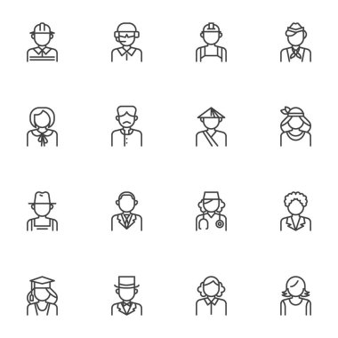 People avatars line icons set, outline vector symbol collection, linear style pictogram pack. Signs, logo illustration. Set includes icons as worker man, farmer, nurse woman, teacher, businessman icon