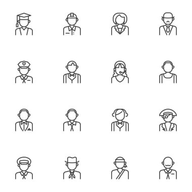 People profession avatars line icons set, outline vector symbol collection, linear style pictogram pack. Signs logo illustration. Set includes icons as police sheriff, teacher, driver, waiter, student icon