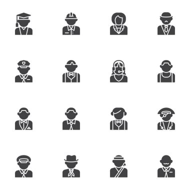 People profession avatars vector icons set, modern solid symbol collection, filled style pictogram pack. Signs logo illustration. Set includes icons as police sheriff, teacher, driver, waiter, student icon