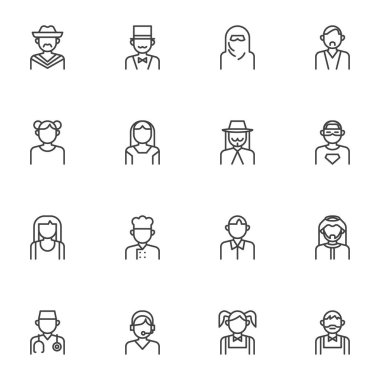 People characters avatars line icons set, outline vector symbol collection, linear style pictogram pack. Signs, logo illustration. Set includes icons as muslim woman, mexican man, girl, boy, doctor icon