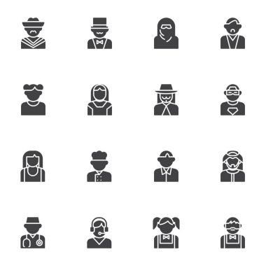 People characters avatars vector icons set, modern solid symbol collection, filled style pictogram pack. Signs, logo illustration. Set includes icons as muslim woman, mexican man, girl, boy, doctor icon
