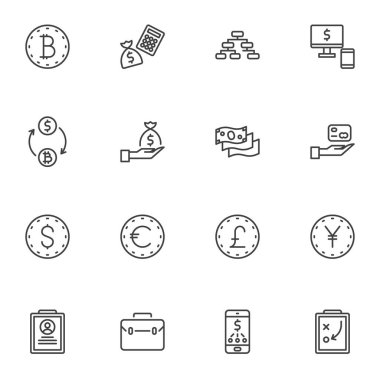 Business finance line icons set, outline vector symbol collection, linear style pictogram pack. Signs, logo illustration. Set includes icons as currency money exchange, mobile banking, investment icon