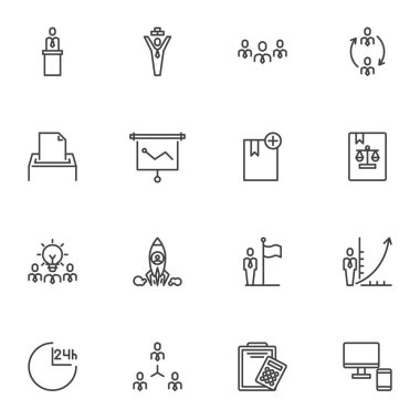 Business people line icons set, outline vector symbol collection, linear style pictogram pack. Signs, logo illustration. Set includes icons as presentation, recruitment, teamwork, business startup icon