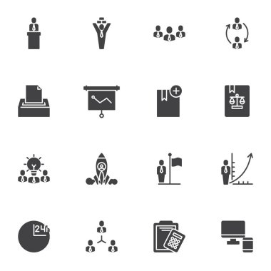 Business people vector icons set, modern solid symbol collection, filled style pictogram pack. Signs, logo illustration. Set includes icons as presentation, recruitment, teamwork, business startup icon