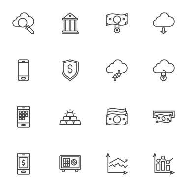 Banking, finance line icons set, outline vector symbol collection, linear style pictogram pack. Signs, logo illustration. Set includes icons as dollar money bill, mobile bank, gold bars, deposit box icon