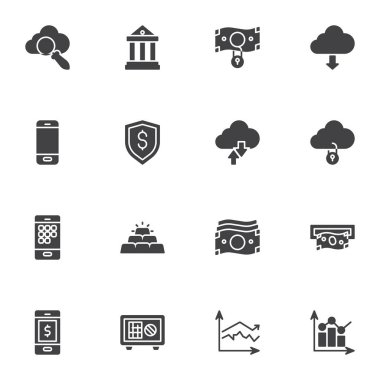 Banking, finance vector icons set, modern solid symbol collection, filled style pictogram pack. Signs, logo illustration. Set includes icons as dollar money bill, mobile bank, gold bars, deposit box icon
