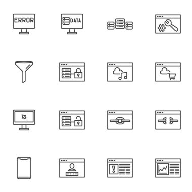 Data network server line icons set, outline vector symbol collection, linear style pictogram pack. Signs, logo illustration. Set includes icons as database hosting, developing website structure icon