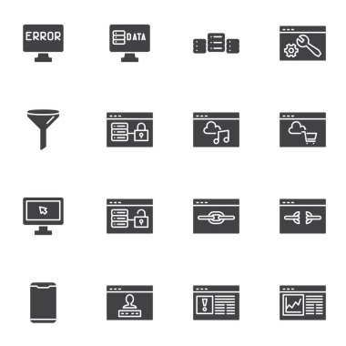 Data network server vector icons set, modern solid symbol collection, filled style pictogram pack. Signs, logo illustration. Set includes icons as database hosting, developing website structure icon