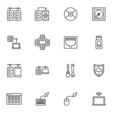 Data connection line icons set, outline vector symbol collection, linear style pictogram pack. Signs, logo illustration. Set includes icons as database server, computer network connection, hosting icon