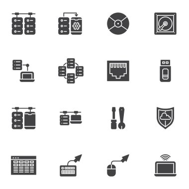 Data connection vector icons set, modern solid symbol collection, filled style pictogram pack. Signs, logo illustration. Set includes icons as database server, computer network connection, hosting icon