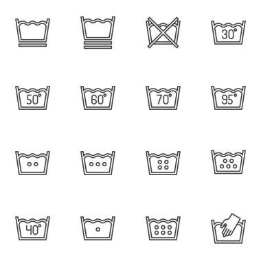 Laundry service line icons set, washing machine instruction outline vector symbol collection, linear style pictogram pack. Signs, logo illustration. Set includes icons as water temperature, hand wash icon