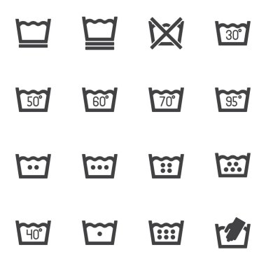Laundry service vector icons set, washing machine instruction modern solid symbol collection, filled style pictogram pack. Signs, logo illustration. Set includes icons as water temperature, hand wash icon