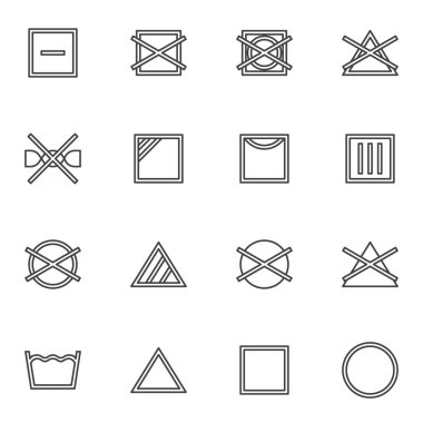 Laundry instruction line icons set, outline vector symbol collection, linear style pictogram pack. Signs, logo illustration. Set includes icons as washing machine, drip dry, bleach and solvent icon