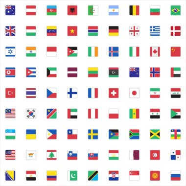Official world flags collection, flat icons set, Colorful symbols pack contains - national flags of africa, europe, usa, russia, china, germany, france. Vector illustration. Flat style design icon
