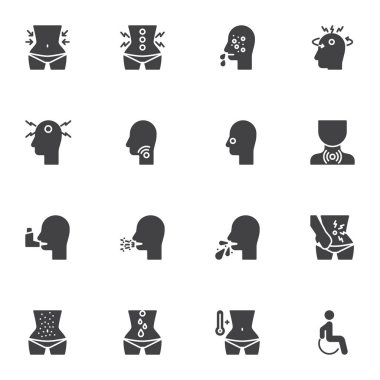 Health condition vector icons set, modern solid symbol collection, health disease filled style pictogram pack. Signs, logo illustration. Set includes icons as headache, body temperature, cough, flu icon