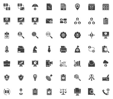 Business and finance vector icons set, modern solid symbol collection, filled style pictogram pack. Signs, logo illustration. Set includes icons as currency exchange, bank money protection, management icon
