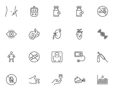Diabetes treatment line icons set. linear style symbols collection, outline signs pack. vector graphics. Set includes icons as blood sugar glucometer, glucose test, insulin injection syringe, dieting icon