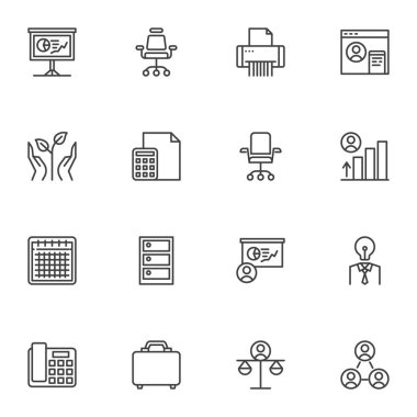 Business success line icons set, outline vector symbol collection, linear style pictogram pack. Signs, logo illustration. Set includes icons as business chart presentation, office chair, teamwork icon