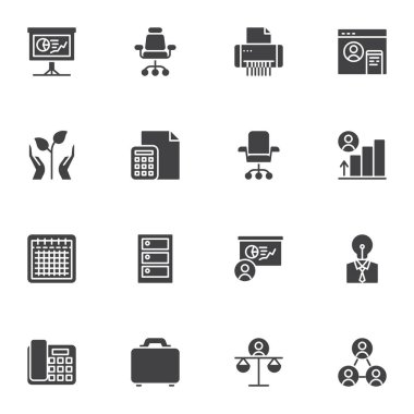 Business success vector icons set, modern solid symbol collection, filled style pictogram pack. Signs, logo illustration. Set includes icons as business chart presentation, office chair, teamwork icon