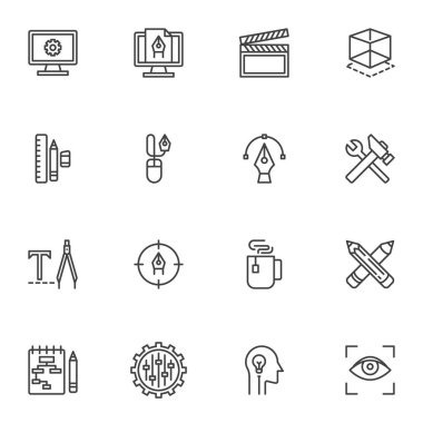 Creative process line icons set, outline vector symbol collection, linear style pictogram pack. Signs, logo illustration. Set includes icons as development, video production, create, take a break icon