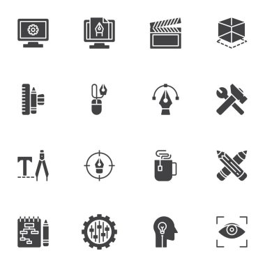 Creative process vector icons set, modern solid symbol collection, filled style pictogram pack. Signs, logo illustration. Set includes icons as development, video production, create, take a break icon