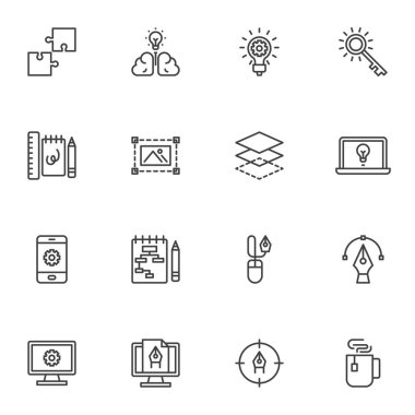 Graphic design creative process line icons set, outline vector symbol collection, linear style pictogram pack. Signs, logo illustration. Set includes icons as brainstorming idea, workflow, editing icon