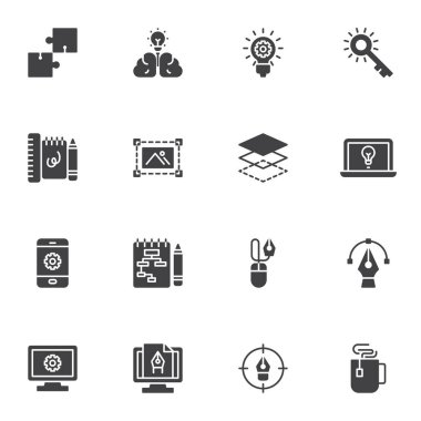 Graphic design creative process vector icons set, modern solid symbol collection, filled style pictogram pack. Signs, logo illustration. Set includes icons as brainstorming idea, workflow, editing icon