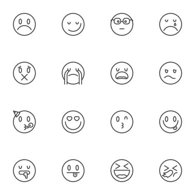 Circle emoji line icons set, emoticon smiley outline vector symbol collection, linear style pictogram pack. Signs, logo illustration. Set includes icons as loudly crying face, happy smiling, heart eye icon