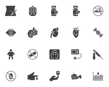 Diabetes treatment vector icons set, modern solid symbol collection, filled style pictogram pack. Signs logo illustration. Set includes icons as blood sugar glucometer, glucose test, insulin injection icon