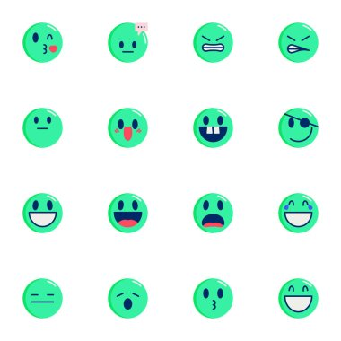 Chat Emoji collection, round emoticons flat icons set, Colorful symbols pack contains - pirate face, laughing smiley, tired. Vector illustration. Flat style design icon
