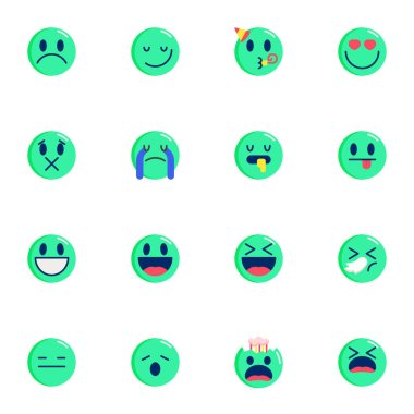 Round emoticons elements collection, Chat Emoji flat icons set, Colorful symbols pack contains - happy smiley, screaming face, smiling, crying, laughing, heart. Vector illustration. Flat style design icon