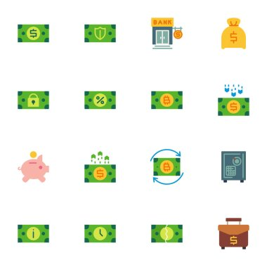 Money and finance elements collection, banking flat icons set, Colorful symbols pack contains - currency exchange, bank safe, deposit box, business portfolio. Vector illustration. Flat style design icon