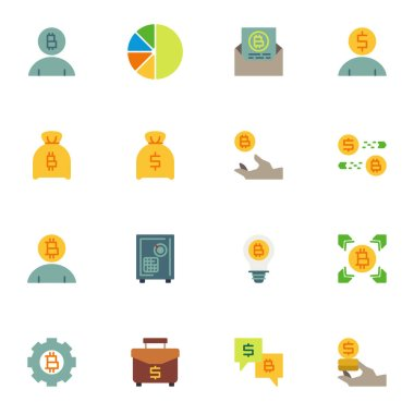 Cryptocurrency money elements collection, business and finance flat icons set, Colorful symbols pack contains - money bag, currency exchange, bank deposit box. Vector illustration. Flat style design icon