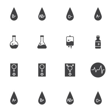 Hematology vector icons set, modern solid symbol collection, filled style pictogram pack. Signs logo illustration. Set includes icons as human blood group, transfusion bag, laboratory test, cardiogram icon