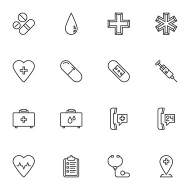 Medical healthcare line icons set, outline vector symbol collection, linear style pictogram pack. Signs, logo illustration. Set includes icons as pharmacy, medicine pills, injection syringe, emergency icon