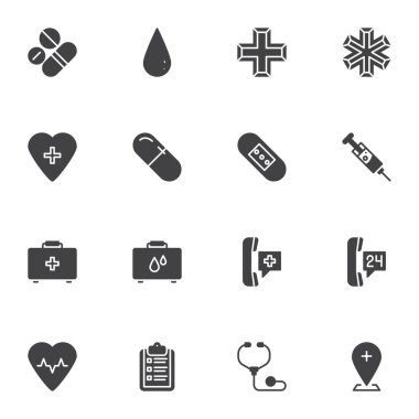 Medical healthcare vector icons set, modern solid symbol collection, filled style pictogram pack. Signs, logo illustration. Set includes icons as pharmacy, medicine pills, injection syringe, emergency icon