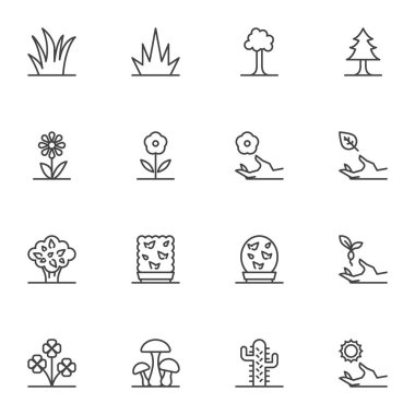 Nature plants line icons set, outline vector symbol collection, linear style pictogram pack. Signs, logo illustration. Set includes icons as forest trees, grass, flowers, cactus, mushrooms, leaves icon