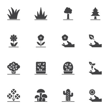 Nature plants vector icons set, modern solid symbol collection, filled style pictogram pack. Signs, logo illustration. Set includes icons as forest trees, grass, flowers, cactus, mushrooms, leaves icon
