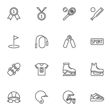 Sports equipment line icons set, outline vector symbol collection, linear style pictogram pack. Signs logo illustration. Set includes icons as golf, rugby helmet, sport shoe, swimming, ice skate, ball icon