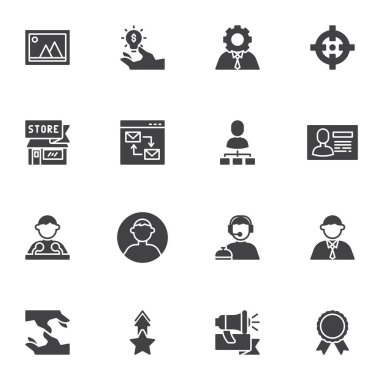 Business and management vector icons set, modern solid symbol collection, filled style pictogram pack. Signs, logo illustration. Set includes icons as support, businessman, speaker, handshake, target icon