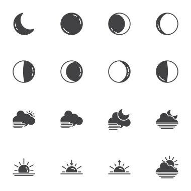 Night weather vector icons set, modern solid symbol collection, filled style pictogram pack. Signs, logo illustration. Set includes icons as full moon, crescent, weather cloud, sunset, sunrise icon