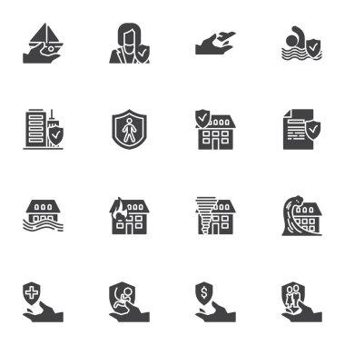 Insurance service vector icons set, modern solid symbol collection, filled style pictogram pack. Signs, logo illustration. Set includes icons as natural disaster insurance, air travel, medical, life icon