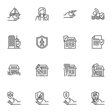 Insurance service line icons set, outline vector symbol collection, linear style pictogram pack. Signs, logo illustration. Set includes icons as natural disaster insurance, air travel, medical, life icon