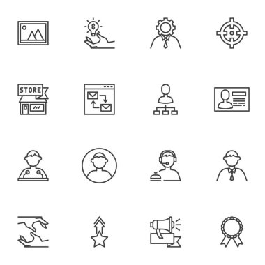 Business and management line icons set, outline vector symbol collection, linear style pictogram pack. Signs, logo illustration. Set includes icons as support, businessman, speaker, handshake, target icon