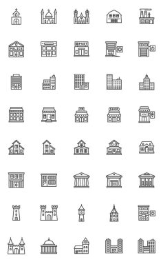 City buildings line icons set. Real estate building linear style symbols collection, outline signs pack. vector graphics. Set includes icons as hospital, police department, school, bank, court house icon